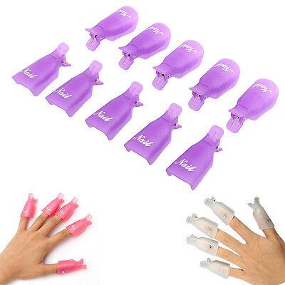 10PC/Set Plastic Nail Art Soak Off Cap Clip UV Gel Polish Remover Wrap Tool mt