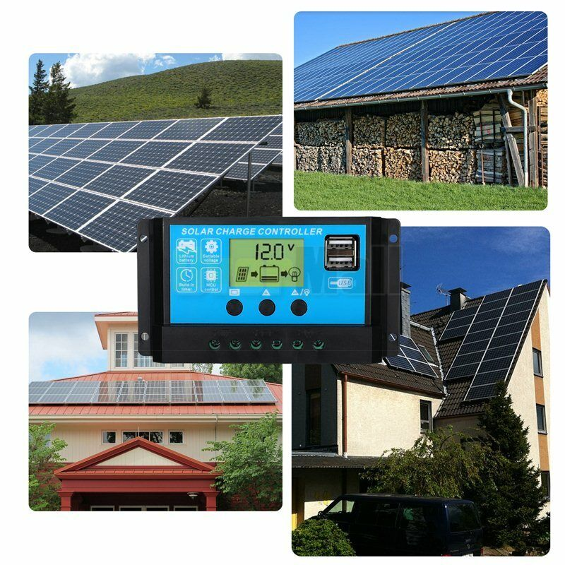 MPPT Solar Panel Regulator Charge Controller Auto Focus Tracking 30-100A 12V/24V 10