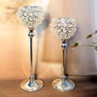 SELLING CRYSTAL BEAD SILVER GOBLET STYLE CANDLE HOLDERS