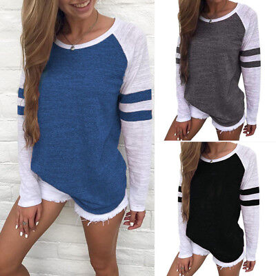 ZANZEA 8-24 Women Pullover Blouse Tee Shirt Sweats Loose Plus Size Baseball Top