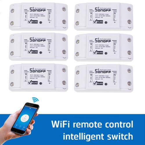 6x Sonoff ITEAD WiFi Wireless Smart Switch Module Shell ABS Socket for Home DIY