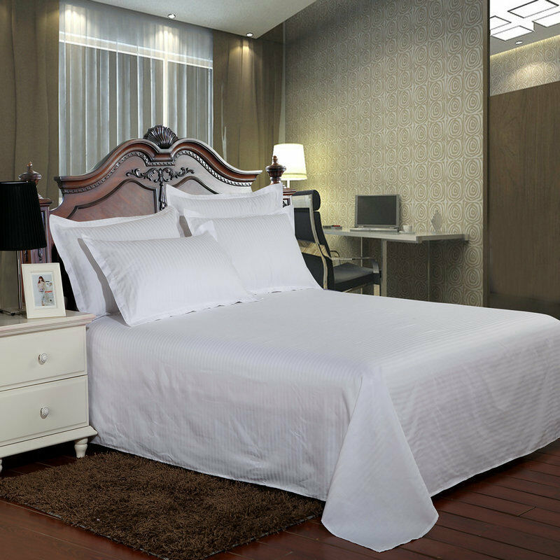 Cotton Striped Bed Sheet Flat Sheet Bedspread Hotel Queen King White Gray
