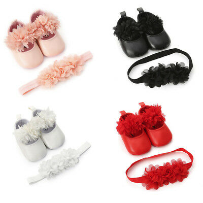 ower Leather Sneakers First Walkers Kid Shoes+Hairband UK (Flowergirl Schuhe)