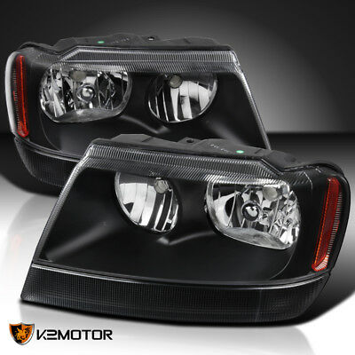 1999-2004 Jeep Grand Cherokee Black Replacement Headlights Head Lamps Left+Right 1999 2004 Jeep Grand Cherokee