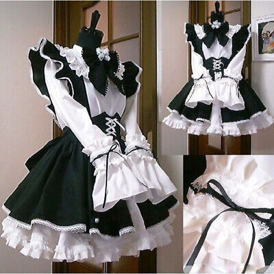 Halloween Gothic Lolita Cosplay Costume Sissy Maid Dress Custom Coffee Uniform](Coffee Costume Halloween)