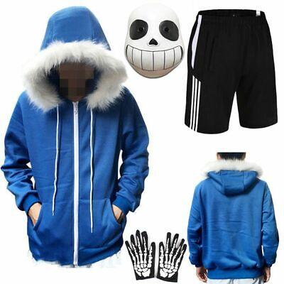 Undertale Sans Cosplay Blue Zip Up Hoodie Costume Jacket Coat Sweater Top covid 19 (Coat Top Pants coronavirus)