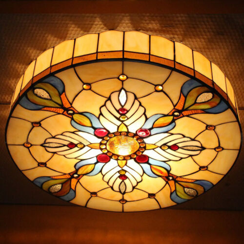 retro tiffany baroque style flush mount stained glass. Black Bedroom Furniture Sets. Home Design Ideas