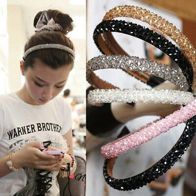 Women Girls Bling Rhinestone Crystal Headband Elastic Hairband Hair Accessories