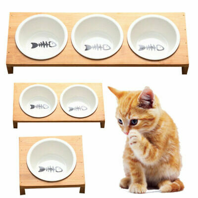 Pet Feeder Bowl Dog Cat Bamboo Ceramic Food Water Elevated Stand Dishes -