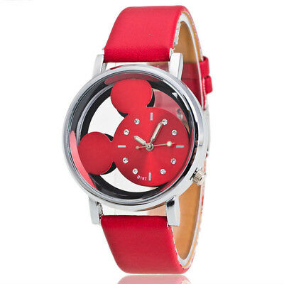 1* Quartz Cute Mickey Mouse Leather Wrist Watch Girl Women Kids Cartoon Watches
