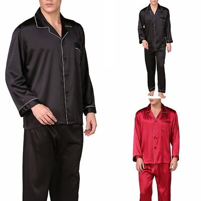 (US STO Stylish Mens Solid Satin Pyjama Sets Long Sleeve Sleepwear Nighwear L-3XL)