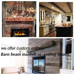 Barn beam fireplace mantels or ceiling beams/ decor
