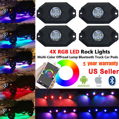 4 Pod RGB CREE LED Rock Lights Neon LED Lights Kit For Jeep Off Road Truck SUV X