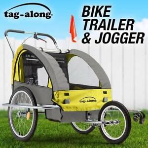 Tag-along Kids Bike Trailer Bicycle Pram Stroller Yellow New
