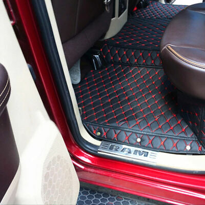 Black&Red Floor Mats Floorliner Carpet Kit Fit For 2009-2017 Dodge Ram 1500 2500 - Red Floor