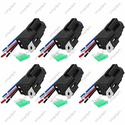 6 Pack-12V 30A Fuse Relay Switch Harness Set SPST 4 Pin 14 AWG Hot Wires NEW