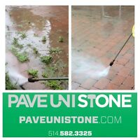 PAVE UNI STONE * 514-582-3325 * UNISTONE RE LEVEL & CLEANING