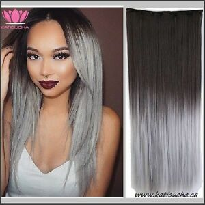 GRAY OMBRE Clip in hair extension,Straight hair,60 cm, 24""