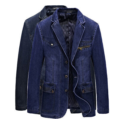 Mens Retro Denim Jeans Blazer Bar Punk Motorcycle Biker Suit 2Color Coat Jackets - Punk Suit