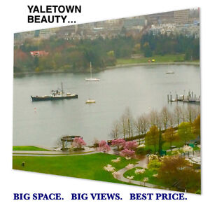 BEST OF YALETOWN. Views & space 1065 sf.  SEPT 1.  Newly reno'd.