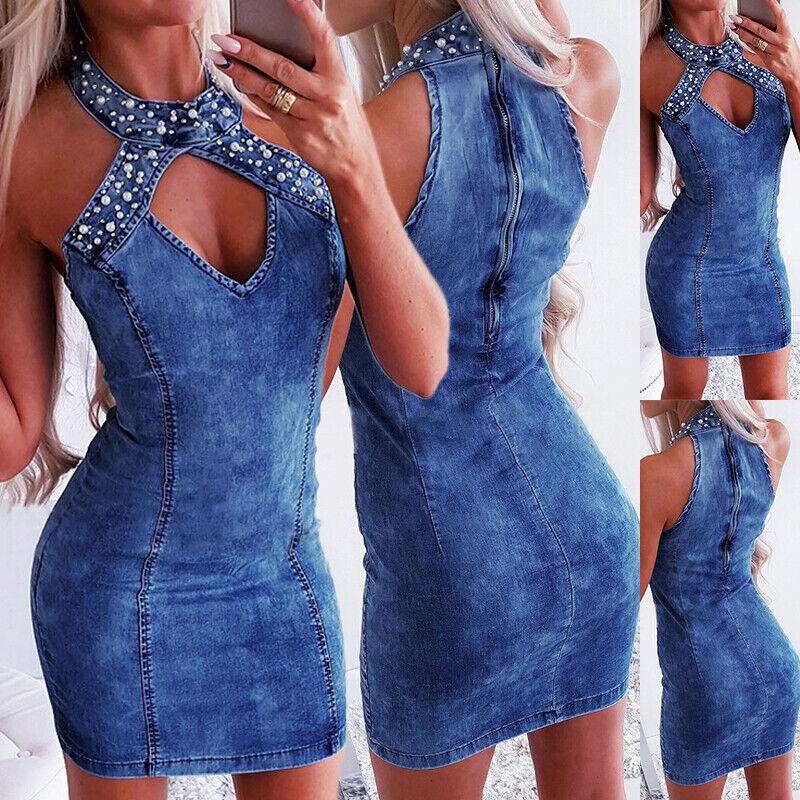 Sexy Damen Denim Jeanskleid Minikleid V-Ausschnitt Slim Fit Mini Kleider Sommer