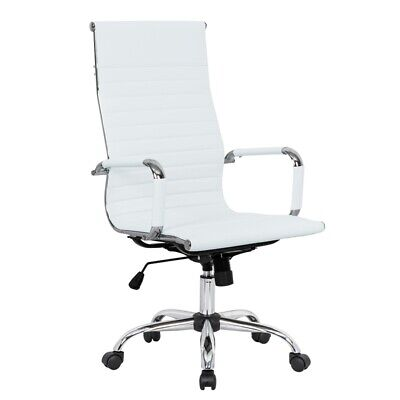 Leisuremod Harris High Back Leatherette Executive Swivel Office Chair In White