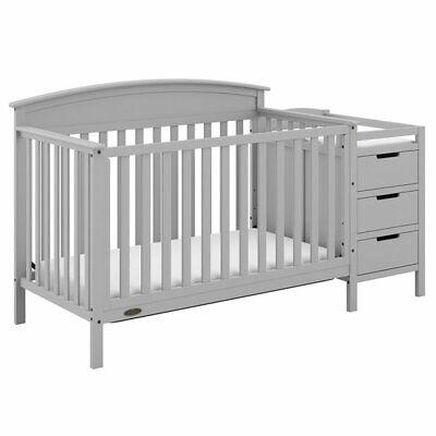 Graco Benton 5 in 1 Convertible Crib and Changer Set in Pebble Gray