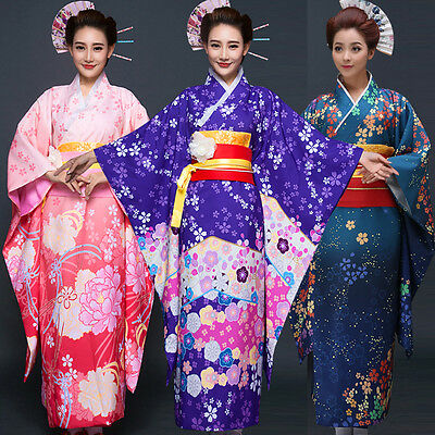 Halloween-kostüme Kimono (Japanese Traditional Women Floral Furisode Long Kimono Cosplay Costume Halloween)