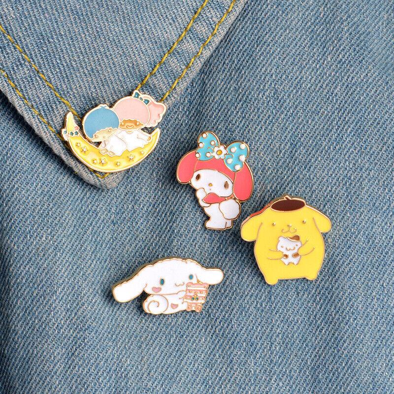 4pcs Cinnamoroll My Melody Little Twin Stars Enamel Pins Collar Hat Lapel Brooch