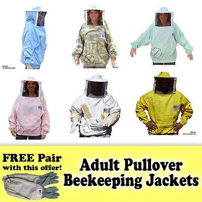 Jawadis Adult Pullover Beekeeping Bee Jacket Sheriff Round Veil Free Bee Gloves