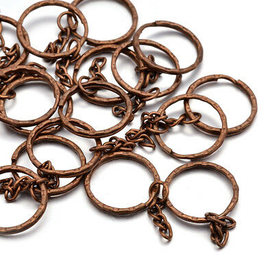- 20pcs Iron Split Rings Double Loop Red Copper w/ Chains Key Clasp Findings 25mm
