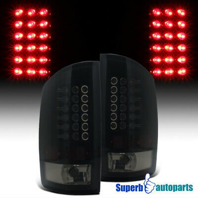 For 2002-2006 Dodge Ram 1500 2500 3500 LED Tail Lights Brake Lamp Black Smoke
