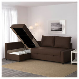 IKEA-MOVING OUT BLACK LEATHER SOFA BED