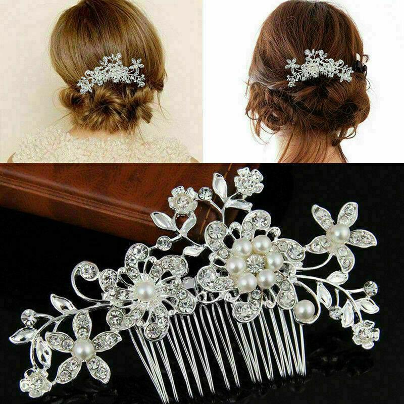 Haarkamm Hochzeit Braut Perlen Strass Blume Haarschmuck Silber plattiert