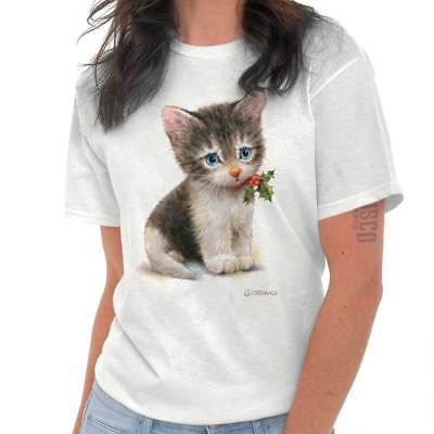Christmas Blue Eyed Kitten Funny Shirts Gift Ideas Graphic Ladies T Shirt ()