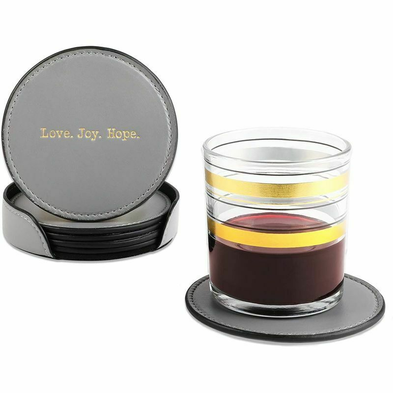Coasters For Drinks With Stand Case Holder, Gray Drink Coasters, Love Joy Hope