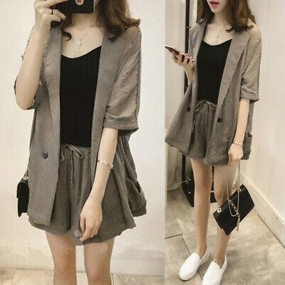 2Pcs Women Suit Thin Short Sleeve Coat+Pants Shorts Set Blazer Office Workwear - Short Suit