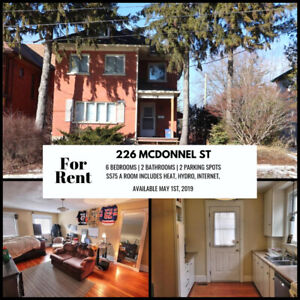 6 BDRMS | 2 BATHROOMS | DOWNTOWN CORE | AVAIL MAY 1 $575/ROOM