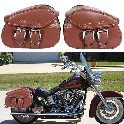2x Brown PU Leather Motorcycle Luggage Saddle Bags Rider Motorbike Panniers