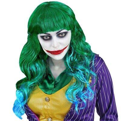 Evil  Mad Joker Damen Perücke Langhaar grün /blau Clown Bösewicht Harlekin #2077