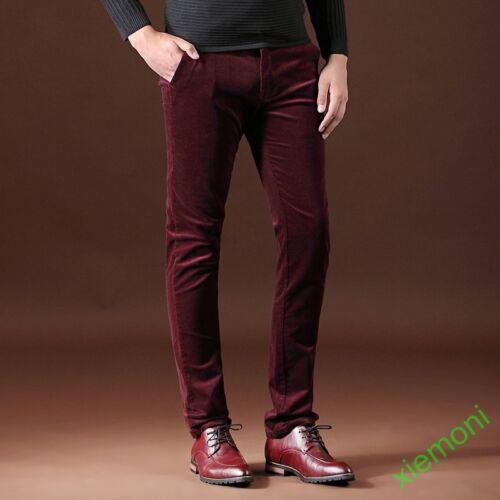 Mens Corduroy Straight Leg Pants Slim Fit Trousers Bottoms Smart Casual Fashion