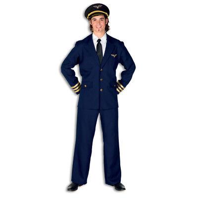 Herren-Kostüm Pilot, marineblau Flugkapitän Flugbegleiter Pilotenkostüm   - Flugkapitän Kostüm