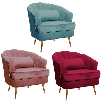 Velvet Scallop Back Tub Chair Armchair Upholstered Chairs Reception Room Lounge
