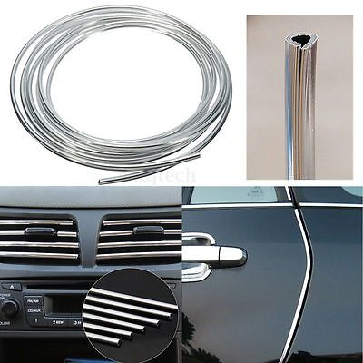 Flexible Car Moulding Line Interior External Decorative Trim Strip 4m Silver