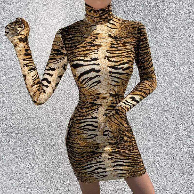 Womens Leopard Print High Neck Bodycon Dress Party Clubwear Clothes with Gloves