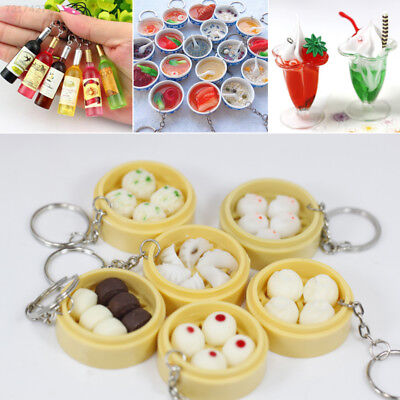 408D Mini Funny Food Keyring Purse Pendant Ring Bun Cocktail Mobile Key Chain - Funny Keychains