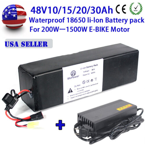 Rechargeable 48V 10/15/20/30Ah Lithium Li-ion Battery Pack ≤ 1500W E-bike Motor