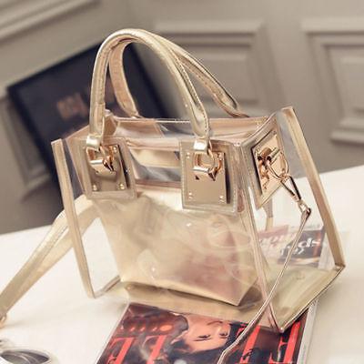 - Womens Transparent Handbag Beach Bag Clear Jelly crystal Purse Crossbody Bags