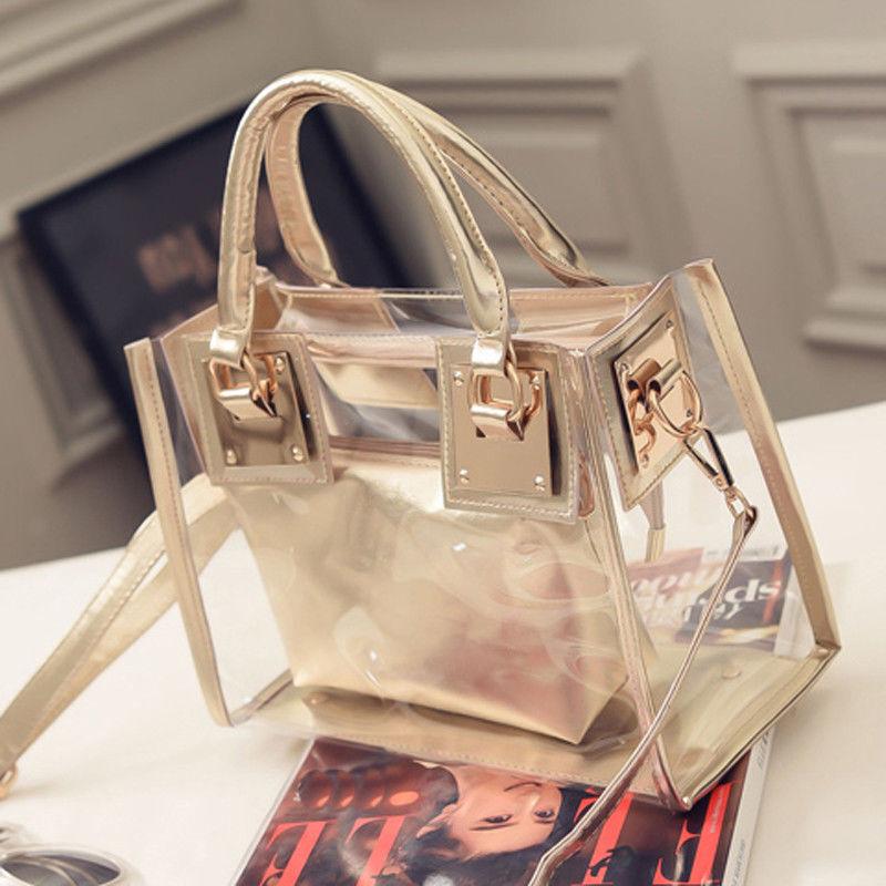 Womens Transparent Handbag Beach Bag Clear Jelly crystal Pur