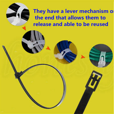 Nylon Plastic Releasable Reusable Cable Tie Zip Wraps Ratchet Ties Wire 8450mm